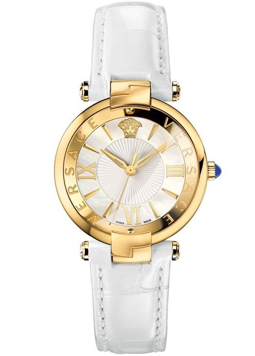 VERSACE REVE GOLD WHITE LEATHER STRAP